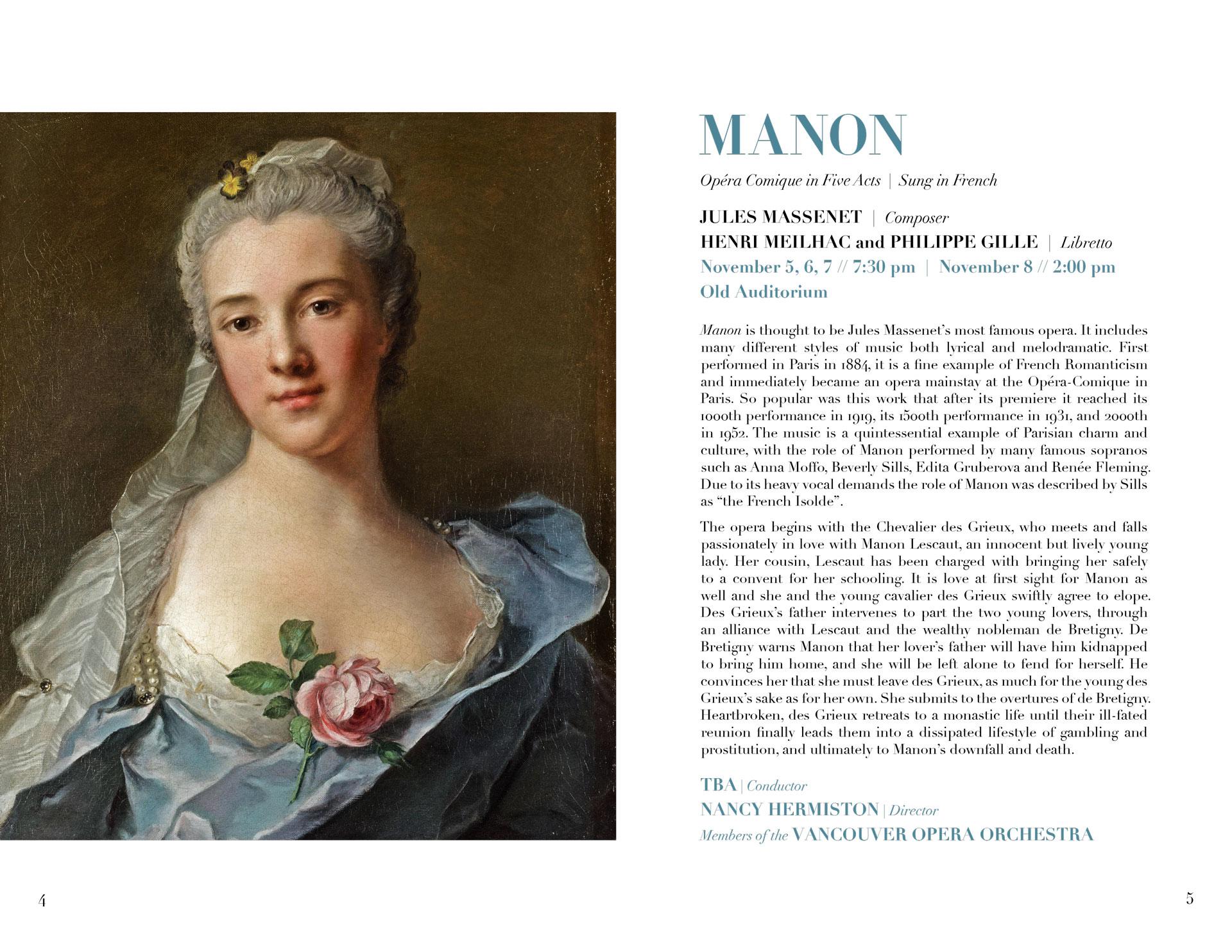 programme spread for Massenet opera Manon
