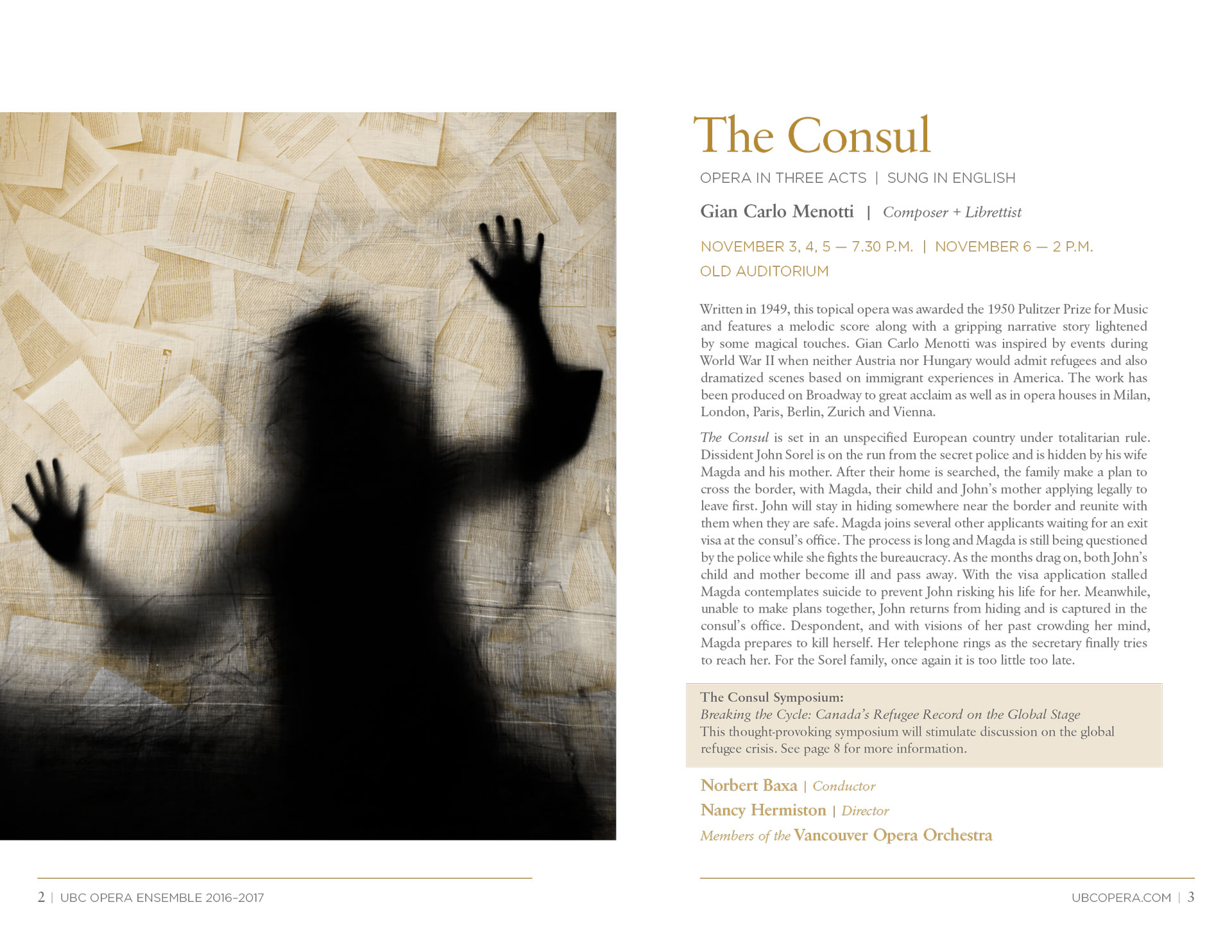 programme spread for Menotti opera The Consul