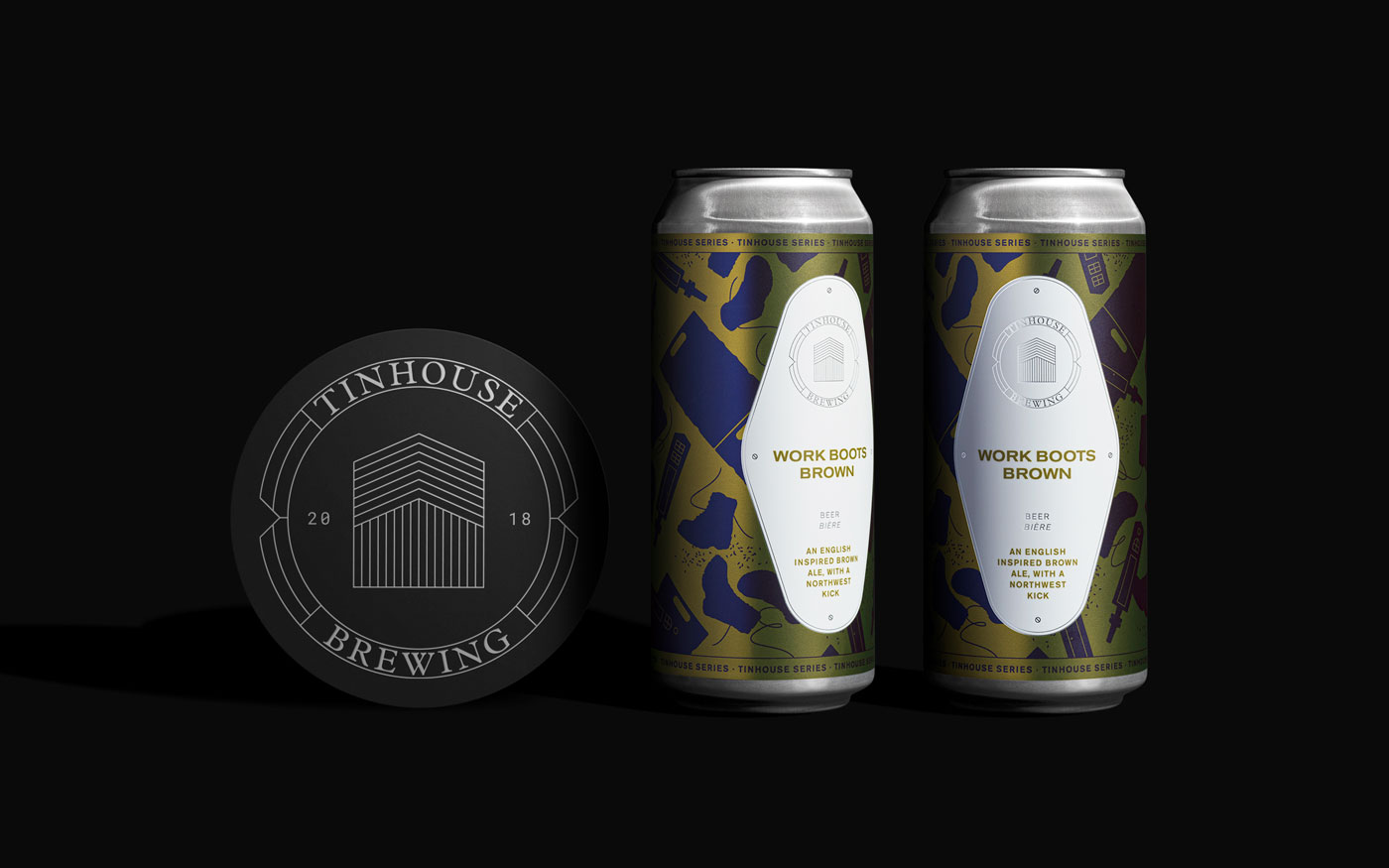 photo of Tinhouse Brewing beer cans and logo