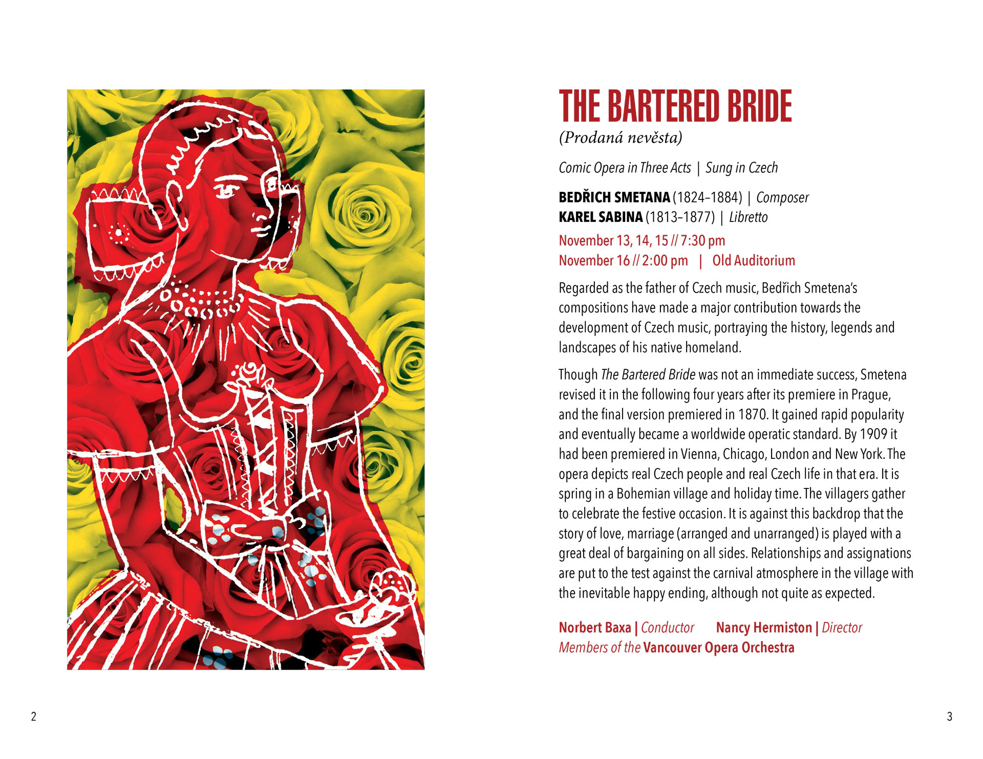 programme book spread for Smetana opera The Bartered Bride