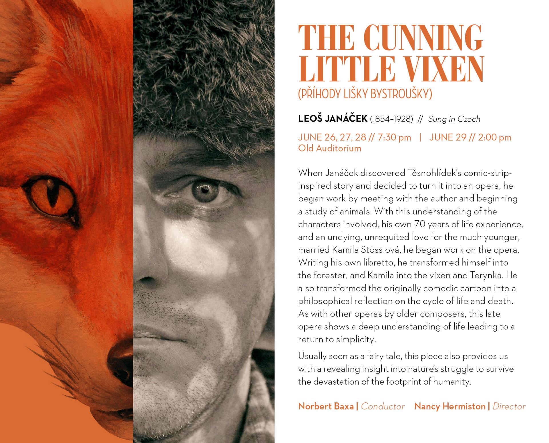 programme spread for Janacek opera The Cunning Little Vixen